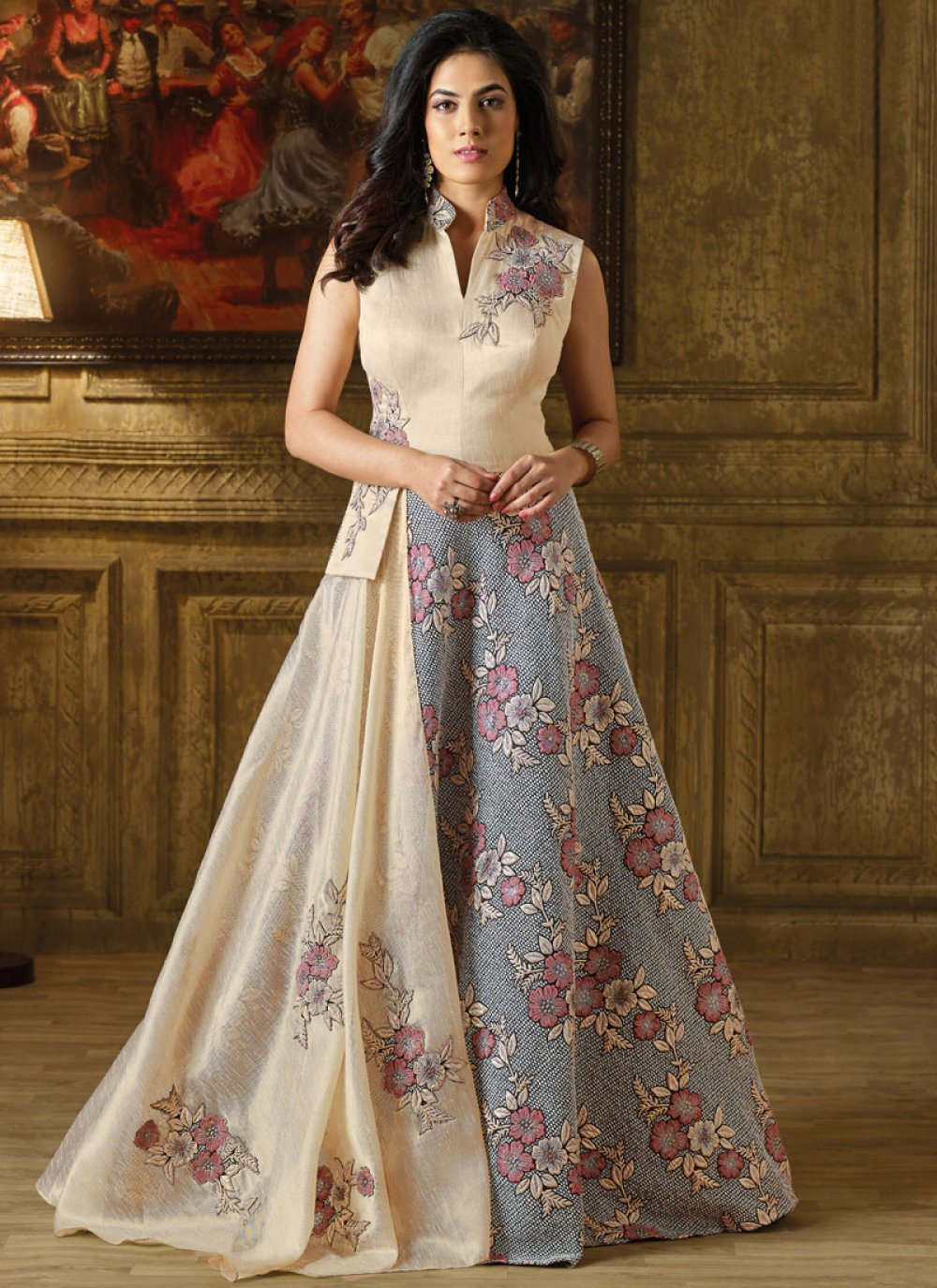 Art Silk Cream and Grey Readymade Gown