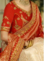 Art Silk Cream and Red Embroidered Work Lehenga Choli