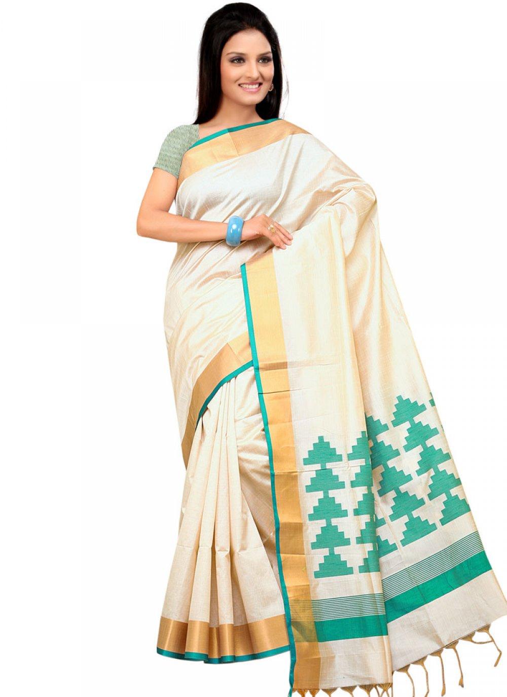 Art Silk Cream Designer Traditional Saree