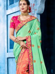 Art Silk Designer Half N Half Saree in Blue and Peach