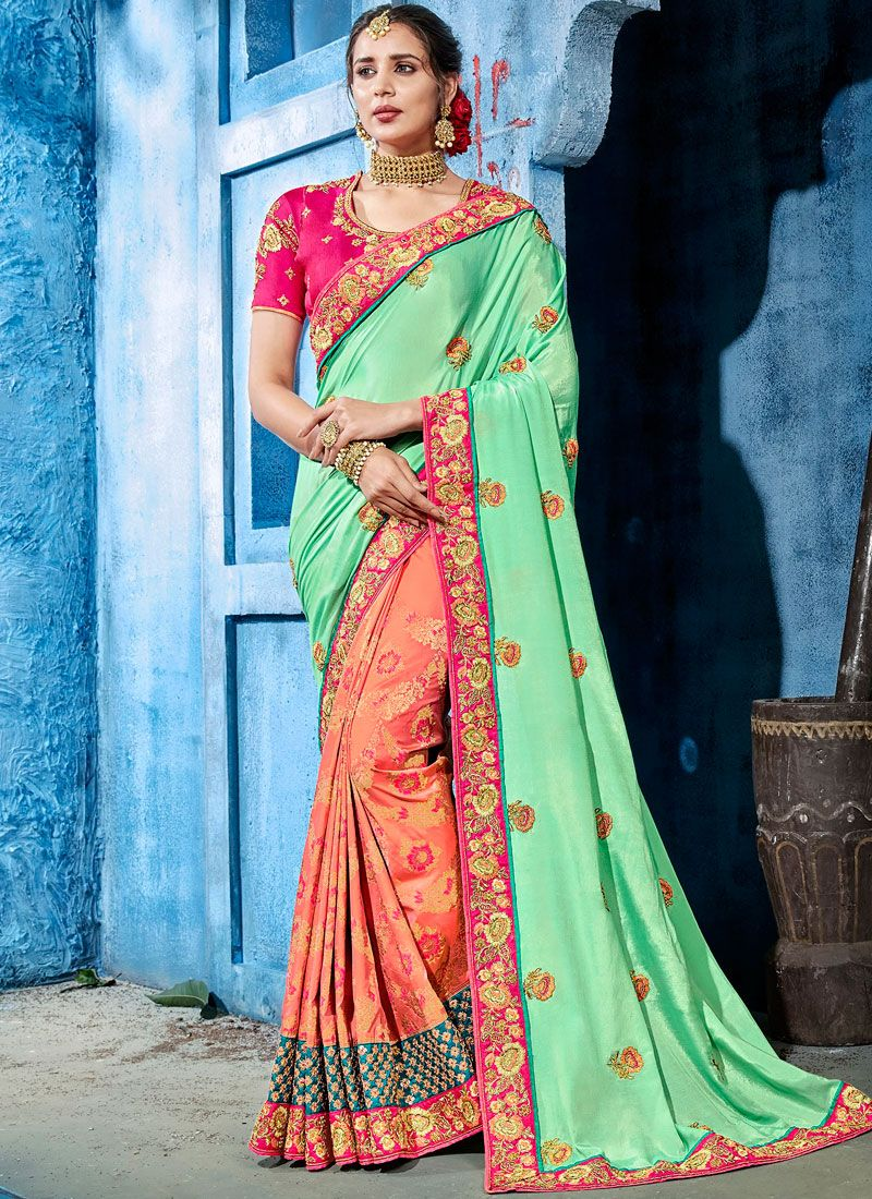 Art Silk Designer Half N Half Saree in Blue and Peach