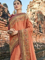 Art Silk Designer Traditional Saree in Peach