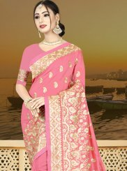 Art Silk Designer Traditional Saree in Pink