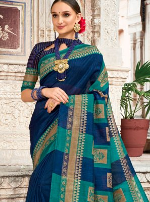 Art Silk Digital Print Traditional Designer Saree in Navy Blue