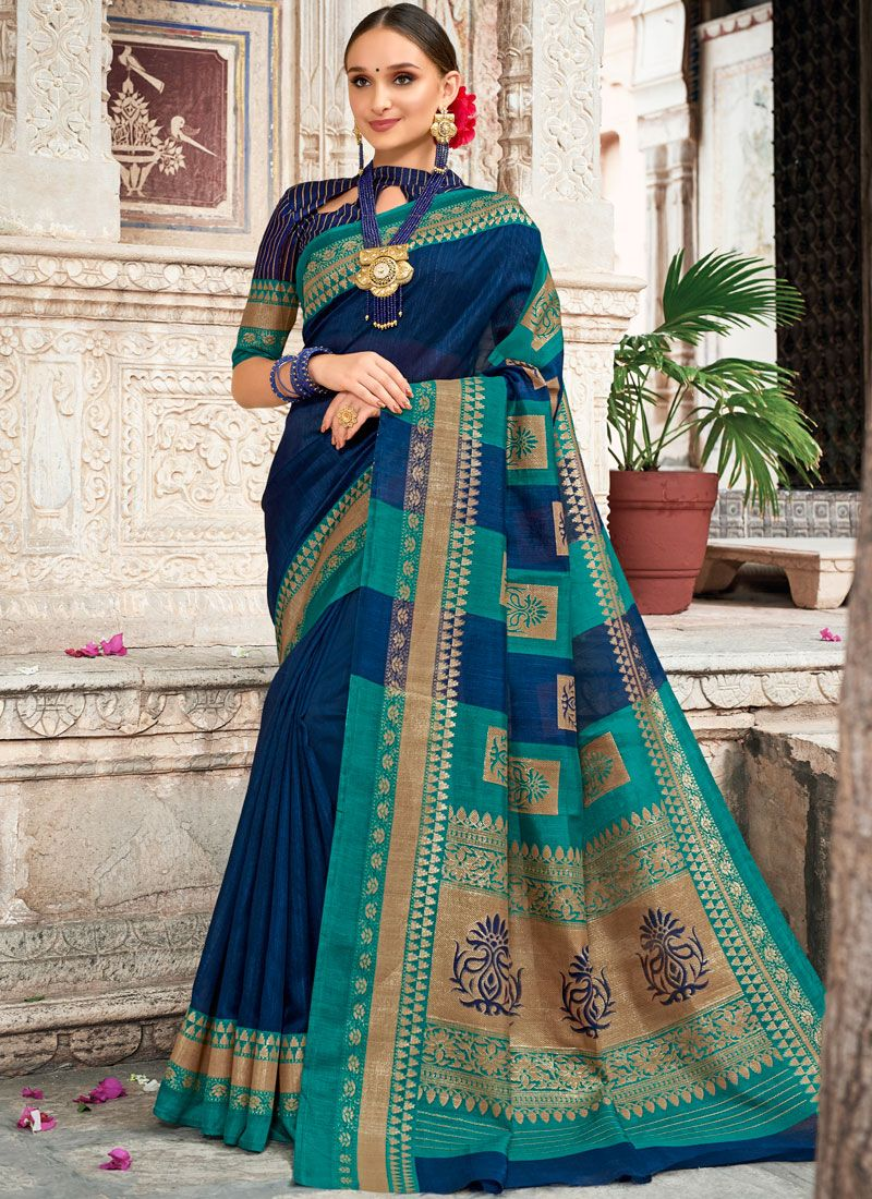 Art Silk Digital Print Traditional Designer Saree in Navy Blue