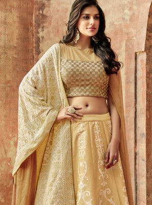 Art Silk Embroidered Beige Lehenga Choli