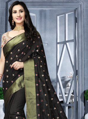 Art Silk Embroidered Classic Saree in Black