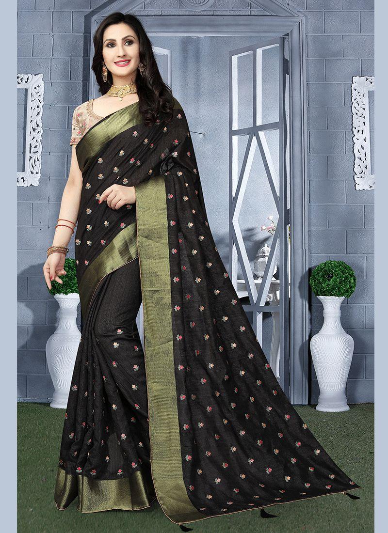 87a5373fce5307 Shop Art Silk Embroidered Classic Saree in Black Online : 96785 -