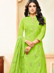 Art Silk Embroidered Designer Palazzo Suit in Green
