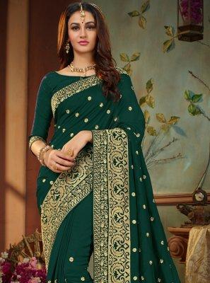 Art Silk Embroidered Green Designer Traditional Saree