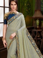 Art Silk Embroidered Grey Traditional Designer Saree