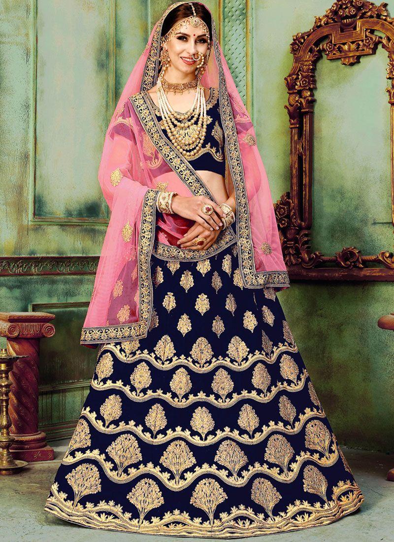 0fc2903fa59b7 Buy Art Silk Embroidered Navy Blue Lehenga Choli : 87423 -