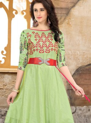 Art Silk Embroidered Party Wear Kurti in Green
