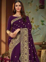 Art Silk Embroidered Purple Designer Traditional Saree