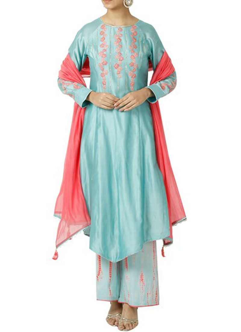 Art Silk Embroidered Work Designer Palazzo Suit