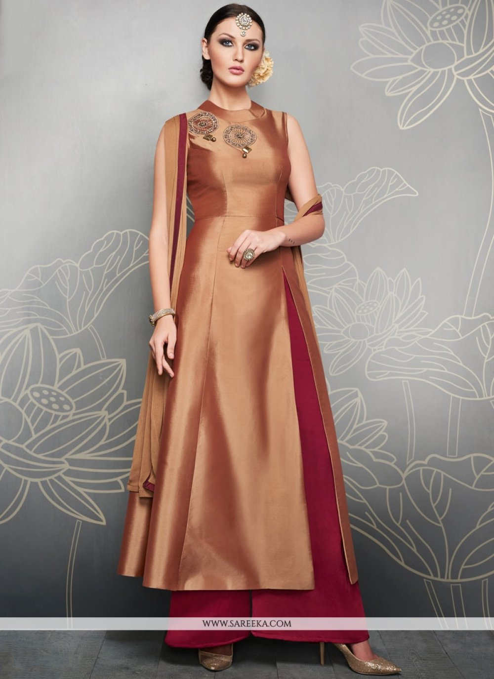 Art Silk Embroidered Work Readymade Suit