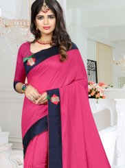 Art Silk Fancy Hot Pink Traditional  Saree