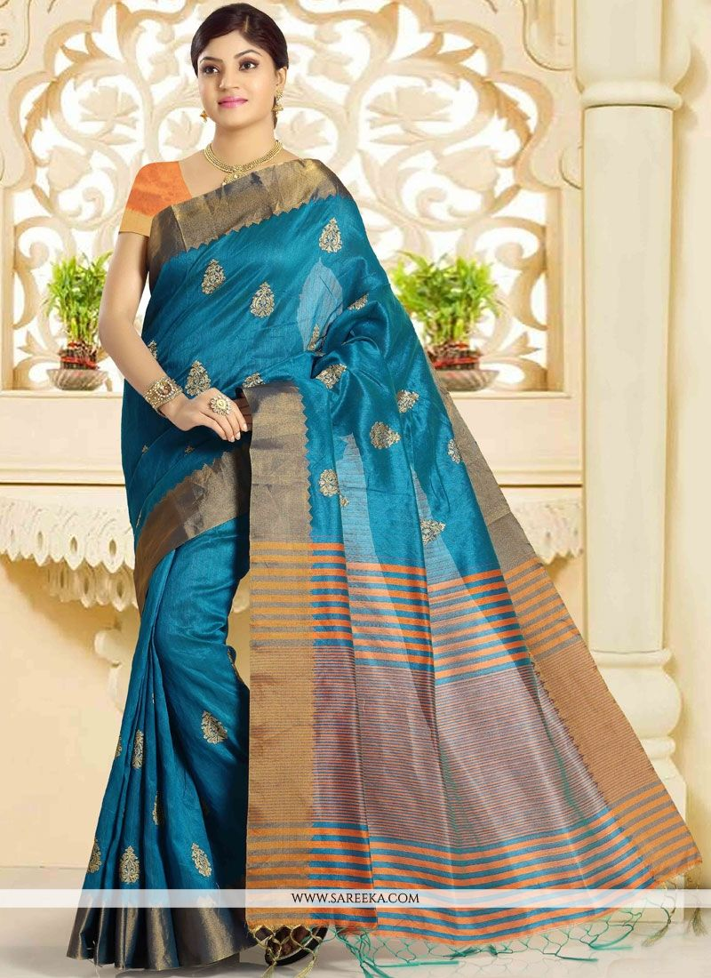 Art Silk Firozi Traditional  Saree