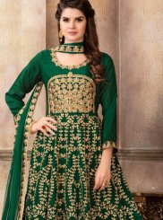 Art Silk Floor Length Anarkali Suit in Green