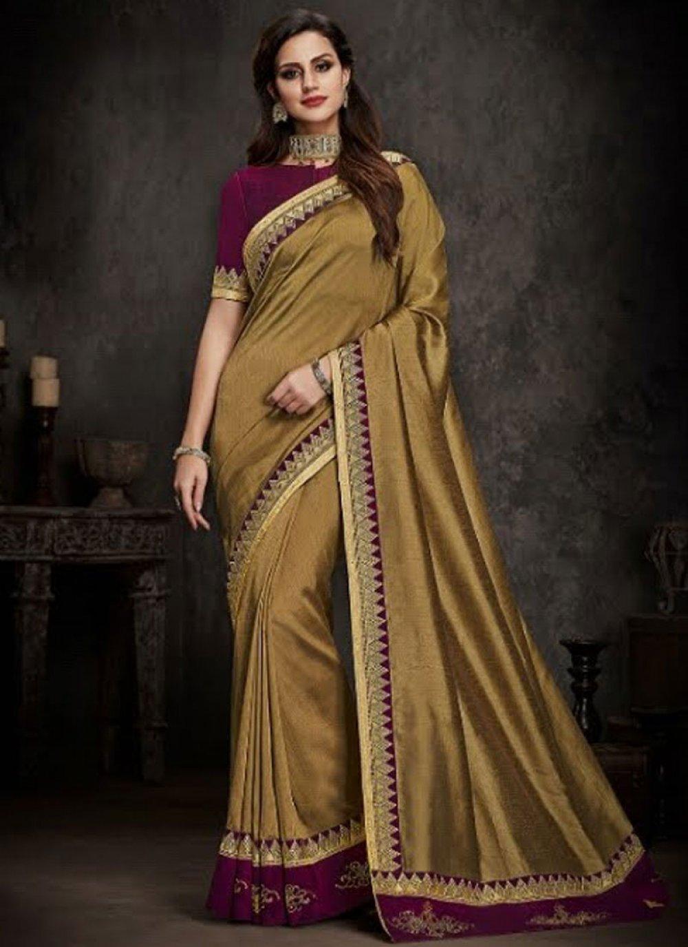 Art Silk Gold Patch Border Traditional Designer Saree