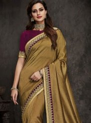 Art Silk Gold Patch Border Traditional Designer Saree