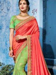 Art Silk Green and Peach Designer Half N Half Saree