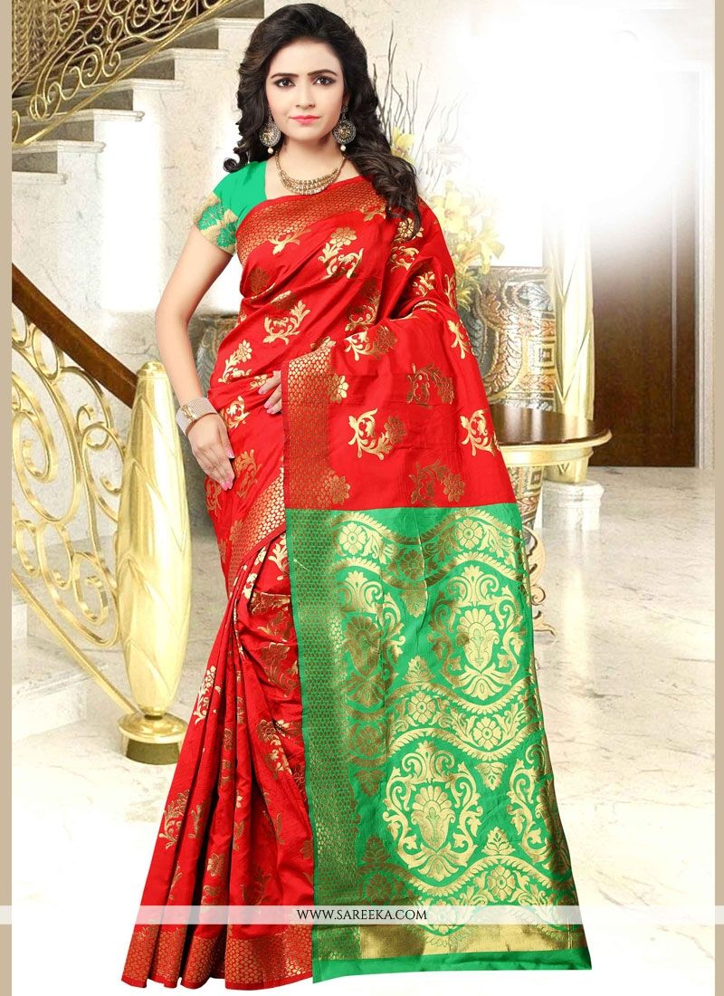 Art Silk Green and Red woven Work Traditional Designer Saree
