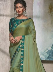 Art Silk Green Embroidered Traditional Designer Saree