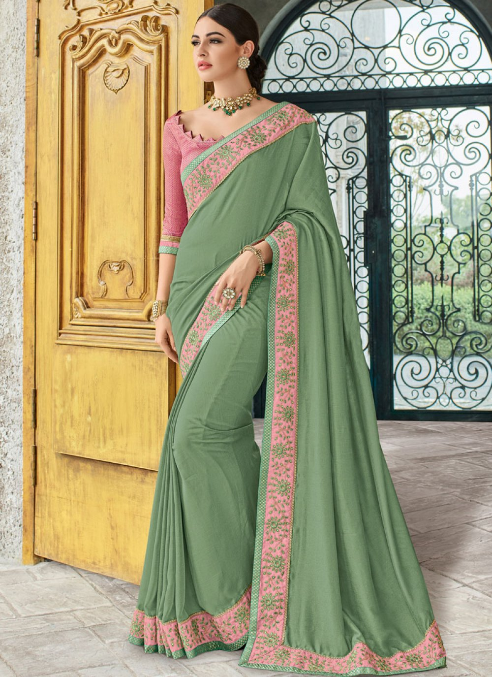 Art Silk Green Embroidered Traditional Saree