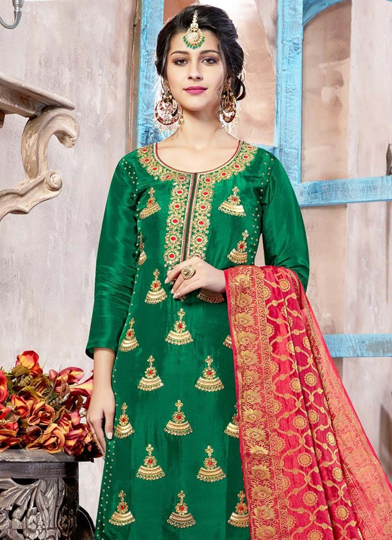 bf89d5633c Art Silk Green Punjabi Suit Art Silk Green Punjabi Suit