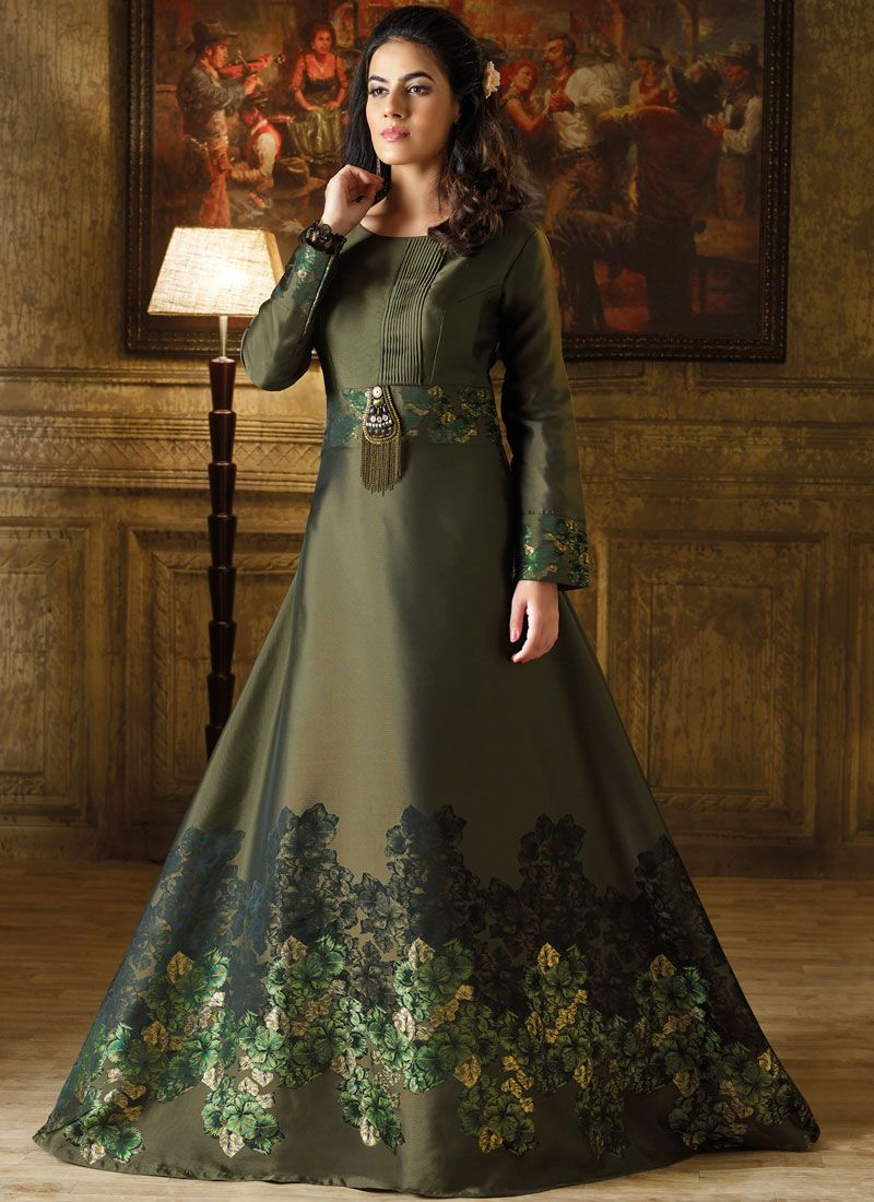 Art Silk Green Readymade Gown