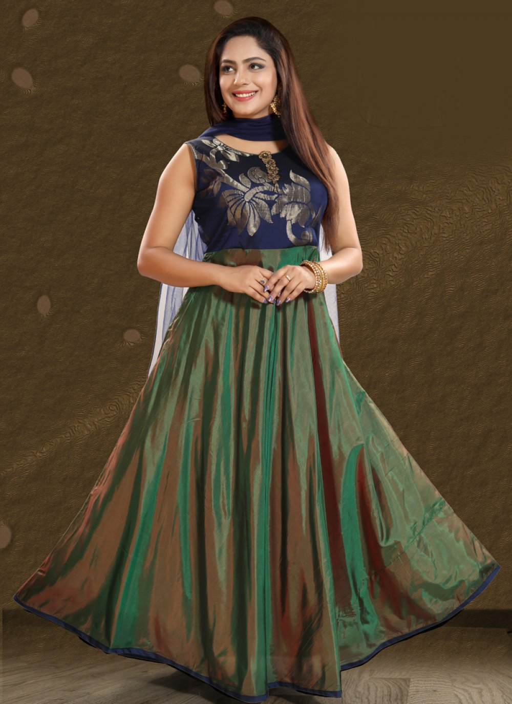 Art Silk Green Salwar Kameez