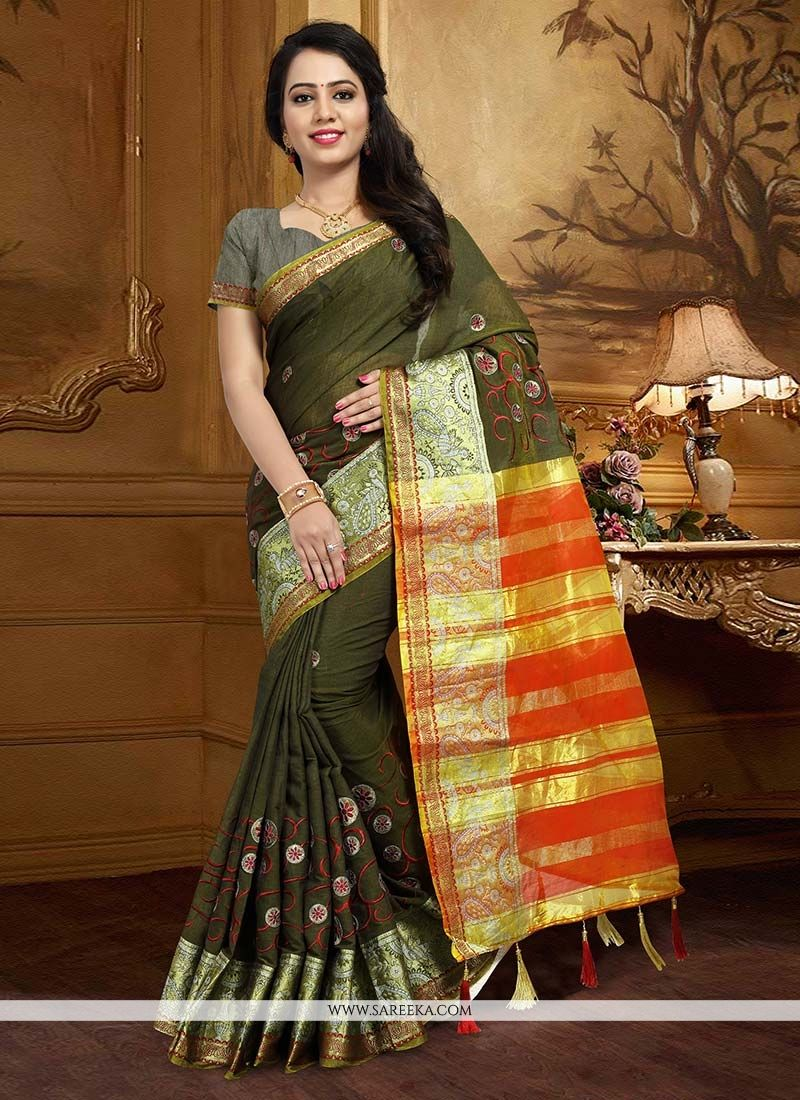 Art Silk Green Weaving Work Traditional  Saree