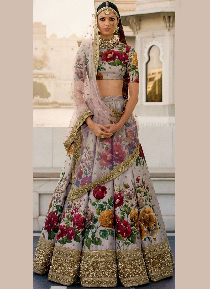 Art Silk Grey Embroidered Work Designer Lehenga Choli