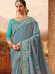 Art Silk Grey Resham Work Designer Traditional Saree