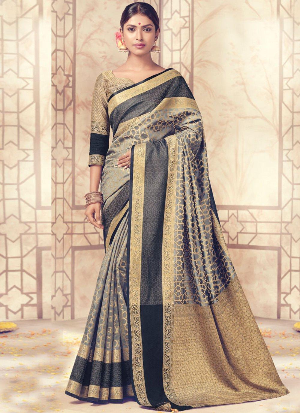 Art Silk Grey woven Work Traditional  Saree