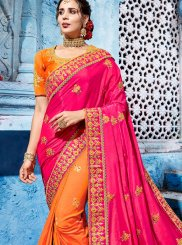 Art Silk Half N Half Designer Saree in Hot Pink and Orange