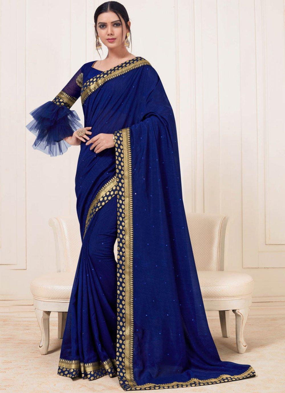 Art Silk Handwork Navy Blue Trendy Saree