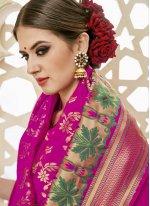 Art Silk Hot Pink Designer Traditional Saree