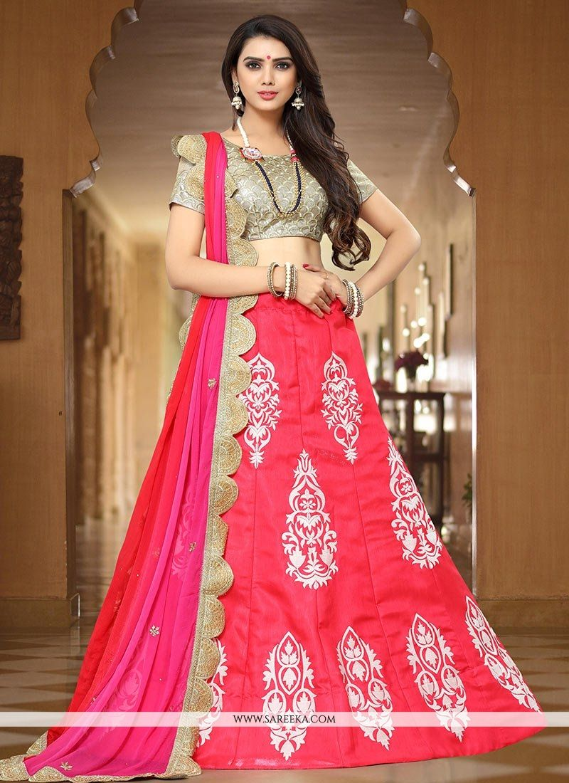 d530a8f35e Buy Art Silk Hot Pink Embroidered Work Lehenga Choli Online -