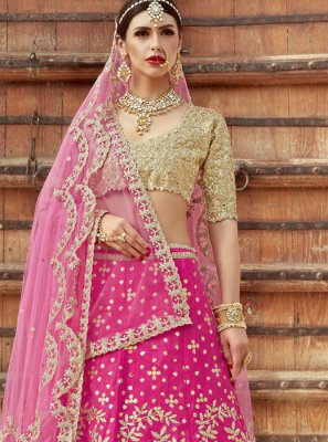 Art Silk Hot Pink Lehenga Choli