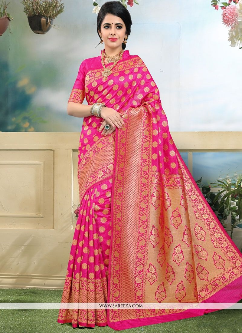 Art Silk Hot Pink Traditional  Saree