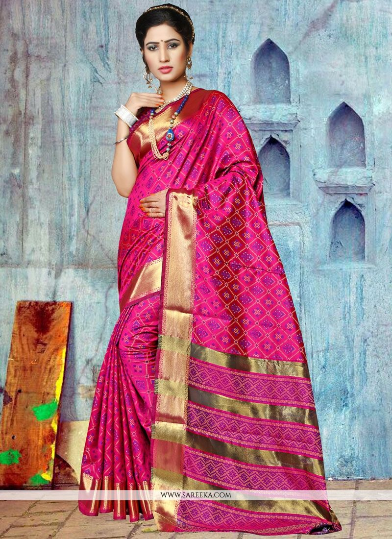 Art Silk Hot Pink Weaving Work Designer Traditional Saree