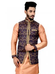 Art Silk Kurta Payjama With Jacket in Peach