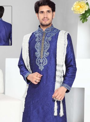Art Silk Kurta Pyjama in Blue