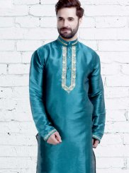 Art Silk Kurta Pyjama in Green
