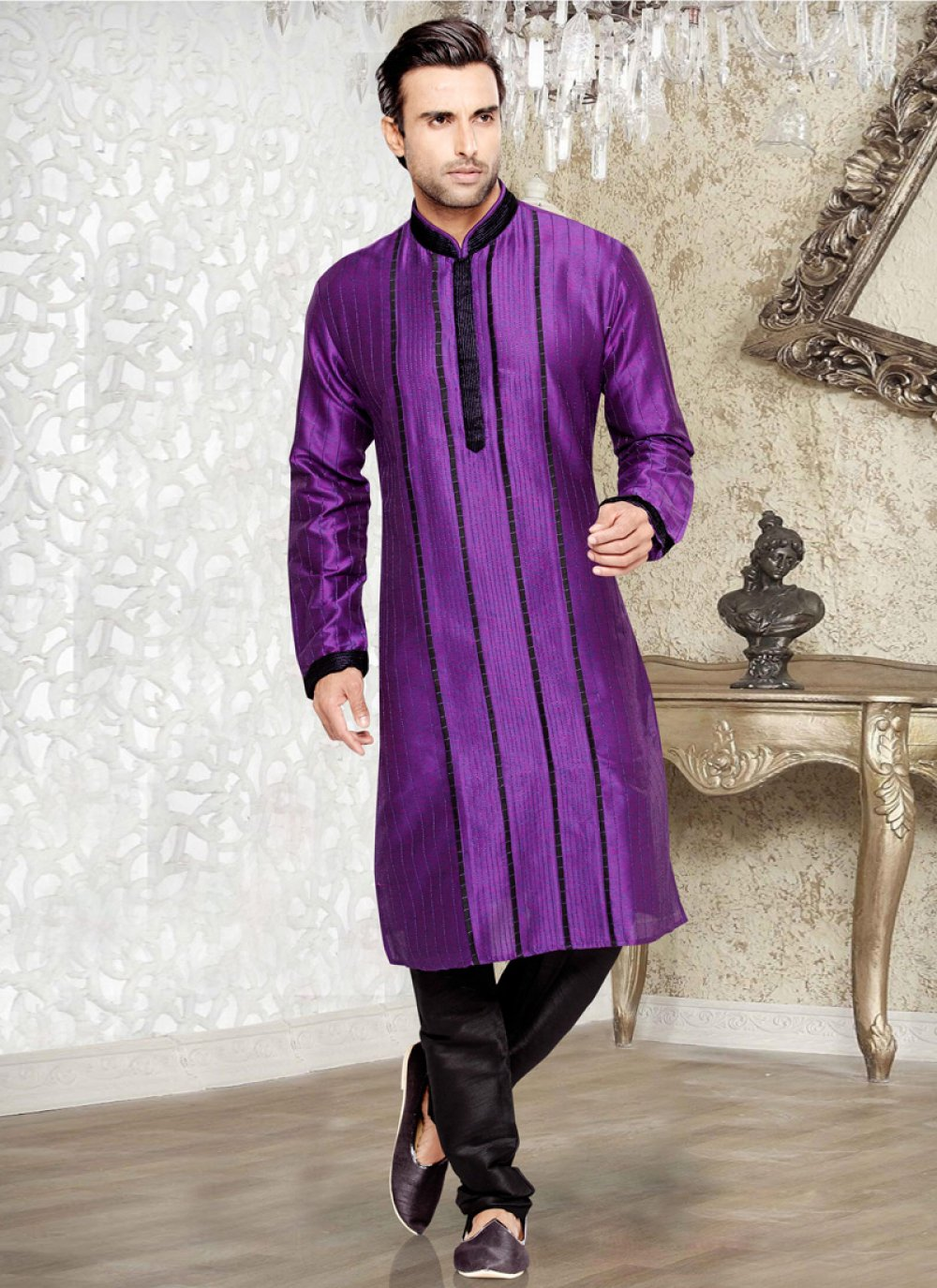 Art Silk Kurta Pyjama in Purple