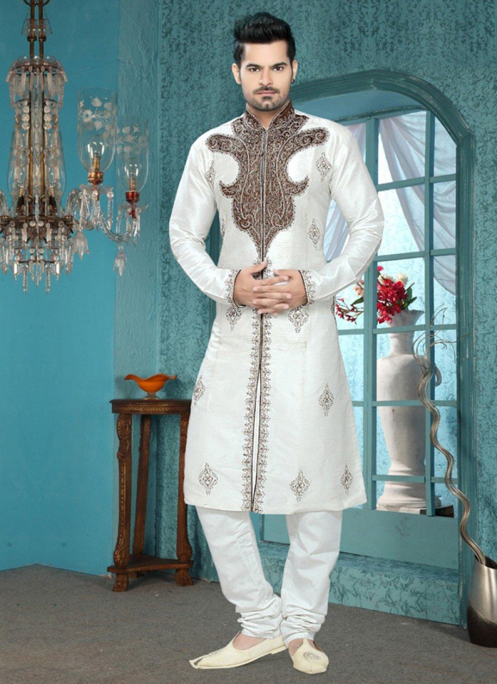Art Silk Kurta Pyjama in White