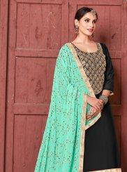 Art Silk Lace Black Churidar Designer Suit