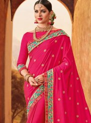 Art Silk Magenta Resham Work Designer Traditional Saree